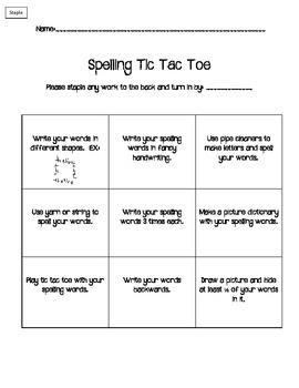 Spelling Tic Tac Toe Pack