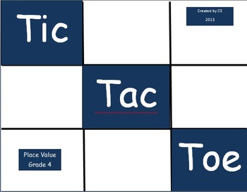 Tic Tac Toe Place Value Grade 4 Power Point Version