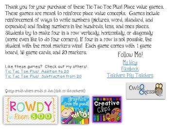 Tic Tac Toe Plus! Place Value