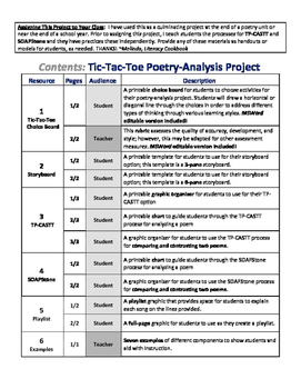 Tic-Tac-Toe Poetry Analysis Choice Board Project
