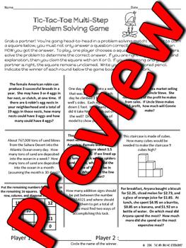 Math - Tic-Tac-Toe Multi-Step Problem Solving Games - TWO DAYS OF MATH FUN!