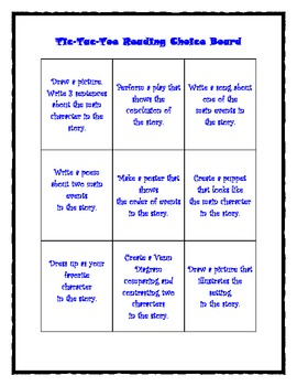 Tic-Tac-Toe Reading Choice Board