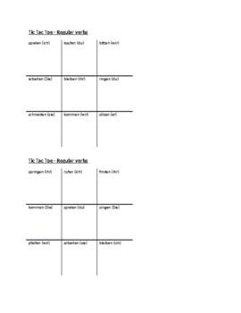 Regular German verbs Tic Tac Toe
