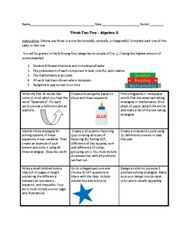 Tic-Tac-Toe Review Activities for Algebra 2