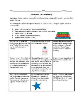 Tic-Tac-Toe Review Activities for Geometry
