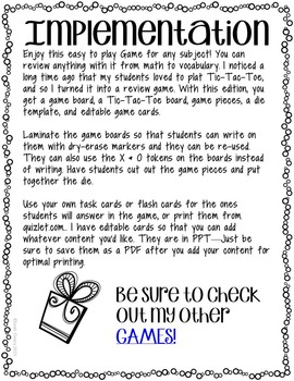 Tic Tac Toe Review Game for Any Subject