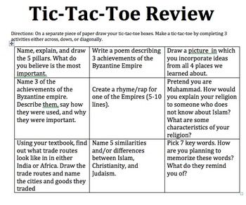 Tic Tac Toe Review Game for Byzantine, Indian, and Africa Empires