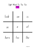 Tic Tac Toe Sight Word Game – Pink Level PM Sight Words