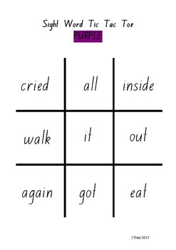 Tic Tac Toe Sight Word Game – Purple Level PM Sight Words