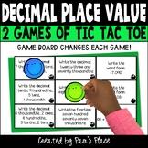 Decimal Place Value Activity Tic Tac Toe