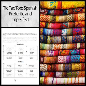 Tic Tac Toe or Tres en Raya: Spanish Preterite and Imperfect Practice Activity