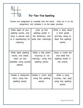 Tic Tac Toe Spelling Board and Activity Sheets