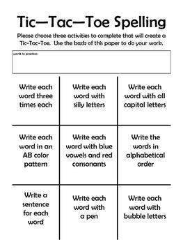 Tic Tac Toe Spelling Homework