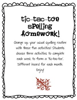Tic-Tac-Toe Spelling Homework!