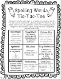 Tic-Tac-Toe Spelling Homework
