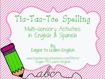 BILINGUAL SET: Tic-Tac-Toe Spelling - Multi-sensory Activities