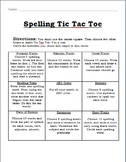 Tic Tac Toe Spelling Packet