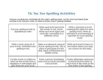 Tic Tac Toe Spelling Strategies