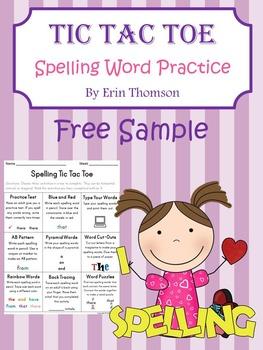 Tic Tac Toe Spelling Word Practice FREE SAMPLE