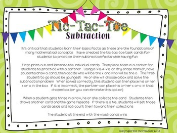 Tic Tac Toe Subtraction Task Card Game