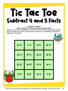 Subtraction Activity: Subtraction Tic Tac Toe Games for Subtraction Fluency