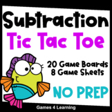 Printable Tic Tac Toe Math Games for Subtraction Fact Fluency Practice