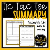 Tic Tac Toe Simple Summarization