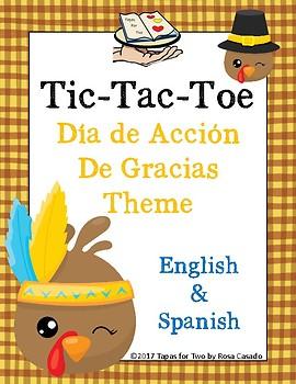 Tic Tac Toe Thanksgiving Theme Spanish and English