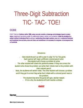 Tic Tac Toe- Three-Digit Subtraction