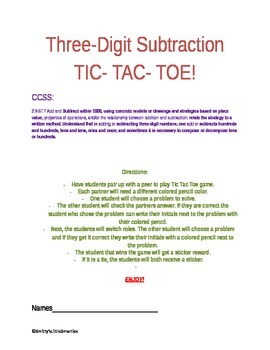Tic Tac Toe- Three-Digit Subtraction