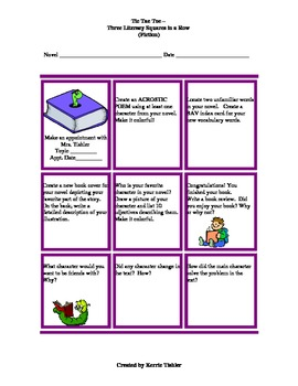 Tic Tac Toe - Three Literacy Squares in a Row (Fiction) #1