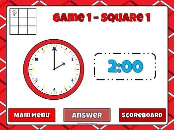 Tic-Tac-Toe - Time to the Half Hour PPT Game