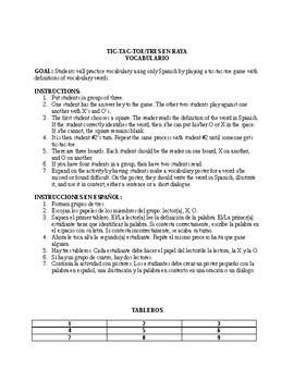 Tic-Tac-Toe (Tres en Raya) Vocab Game Avancemos Unidad 2 Lección 2