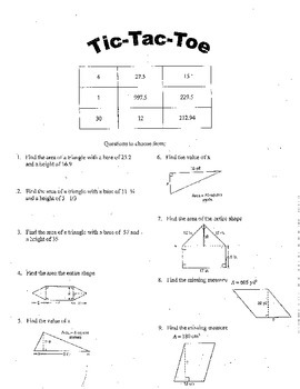 Tic-Tac-Toe (Triangle and Parallelogram Area)