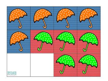 Winter Tic Tac Toe - Umbrellas (Hebrew)