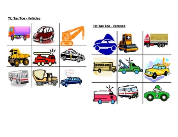 Vehicles pictures Tic Tac Toe
