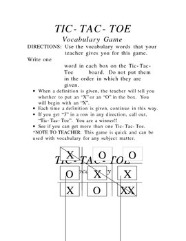 Tic-Tac-Toe Vocabulary Game/Template