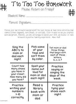 Tic Tac Toe Weekly Homework Set 1