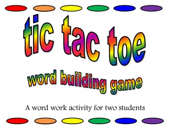 Word work: Tic Tac Toe Word Building full set