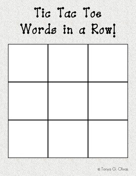 Tic Tac Toe Words in a Row!