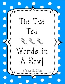 Tic Tac Toe Words in a Row!--Color Version