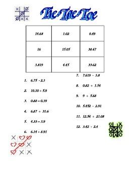 Tic-Tac-Toe (adding and subtracting decimals)