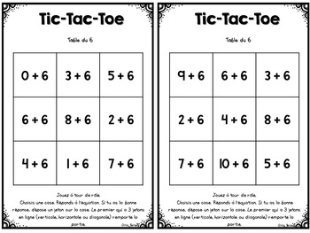 Tic-Tac-Toe des tables d'additions