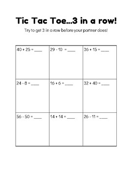 Tic Tac Toe for Fluency - Addition and Subtraction Game