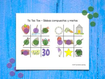 Tic Tac Toe in Spanish - Tres en raya (sílabas compuestas y mixtas)