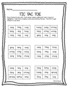 Tic Tac Toe- ing, ang, ong, ung