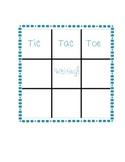 Tic Tac Toe kindergarten word wall word writing