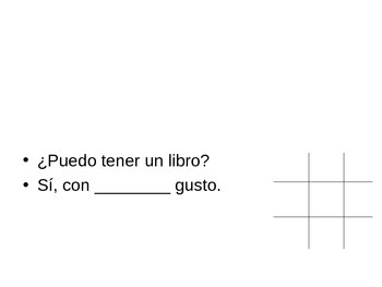 Tic Tac Toe review game for Spanish I, basic first concepts
