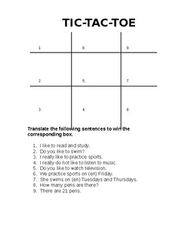Tic-Tac-Toe w/ Gusta Phrases Chapter 1 Paso a Paso