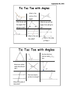 Tic Tac Toe with Angles